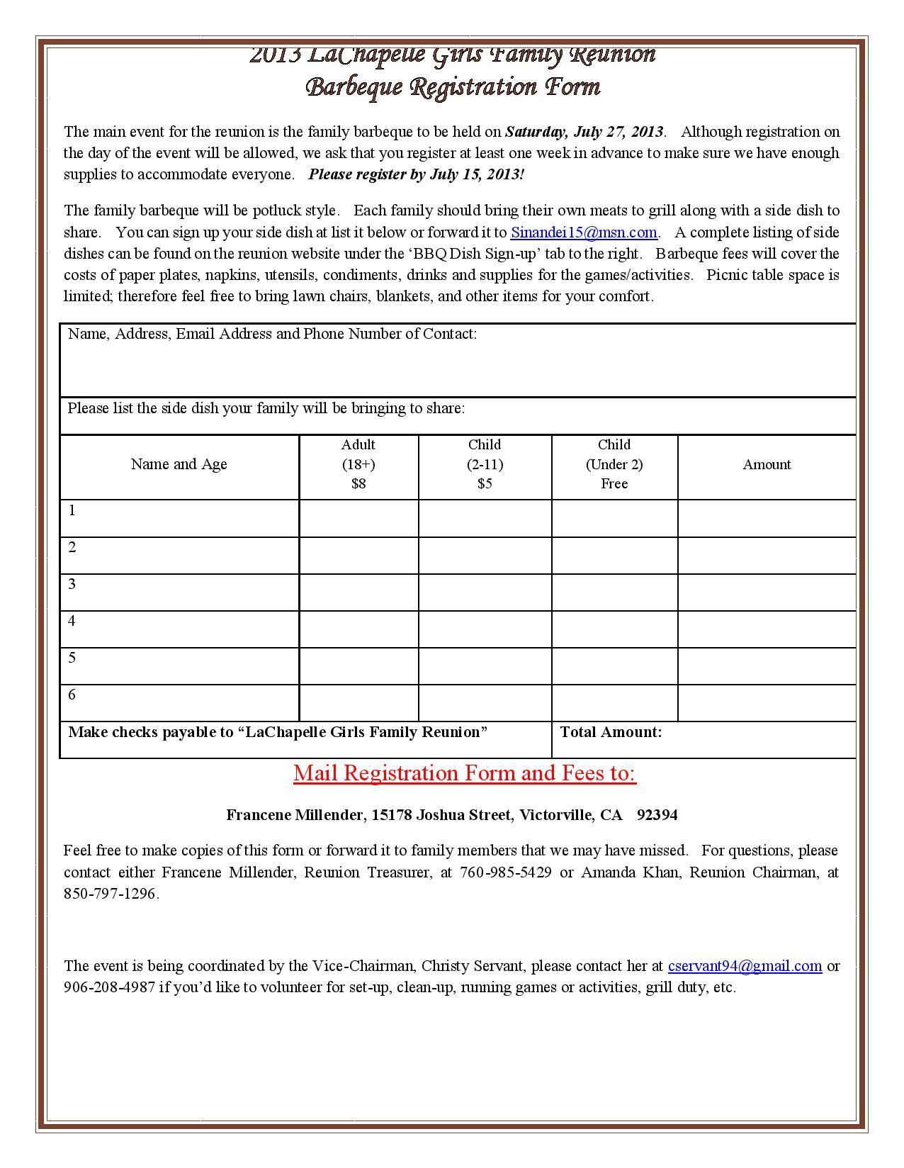 Registrations Forms For Family Reunion Family Reunion Registration